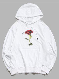 Känguru Tasche Rose Blumendruck Hoodie - Weiß S