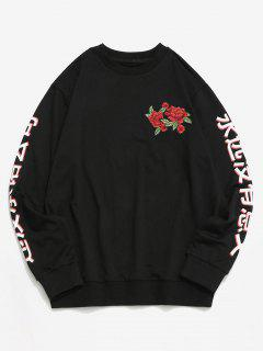 Sweat-shirt FleurBrodéeet Caractères Imprimés - Noir S
