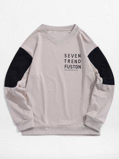 Sweat-shirt Lettre Imprimée Panneau En Blocs De Couleurs - Blanc Chaud Xs