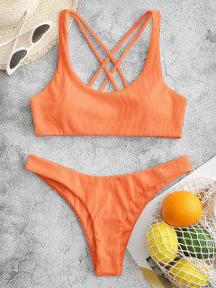 ZAFUL Ribbed High Leg Strappy Bikini Swimsuit - Dark Orange M