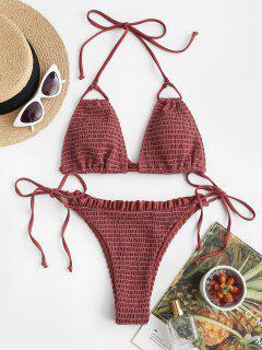 ZAFUL Smocked Ruffle Tie Side String Bikini Swimwear - Deep Red M