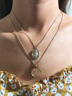 Portrait Layers Necklace Earrings Set - Golden