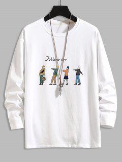 Follow On Cartoon Character Basic T-shirt - White 4xl