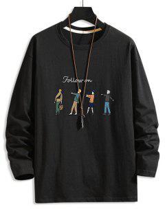 Follow On Cartoon Character Basic T-shirt - Black 3xl