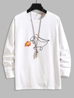 Camiseta Básica Con Estampado De Letras De Dinosaurio - Blanco 4xl