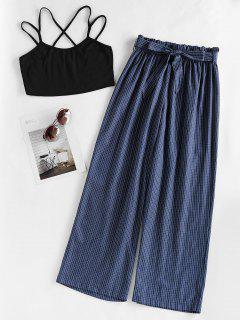 ZAFUL Crisscross Cami Top And Checked Pants Set - Deep Blue L