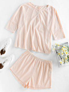 ZAFUL Knitted Two Piece Set - Antique White L