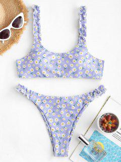 ZAFUL Ribbed Daisy Print Lettuce Strap Scrunch Butt Bikini Swimwear - Light Purple S