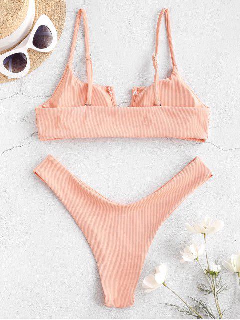 outfits Jessica Stockstill x ZAFUL Cut And Wired In V Ribbed Bikini Swimwear - DEEP PEACH M Mobile