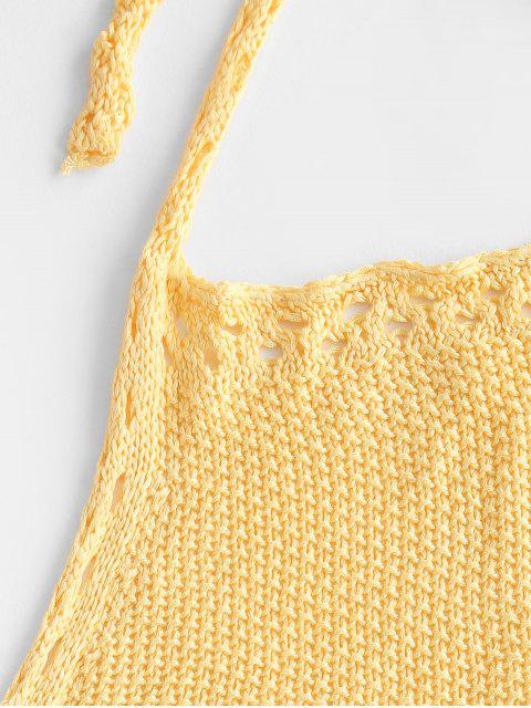 outfits Crochet Hollow Out Halter Shorts Set - YELLOW ONE SIZE Mobile
