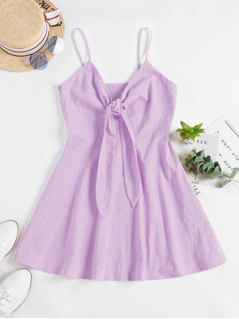 online ZAFUL Tie Front A Line Cami Dress - LIGHT PURPLE M Mobile