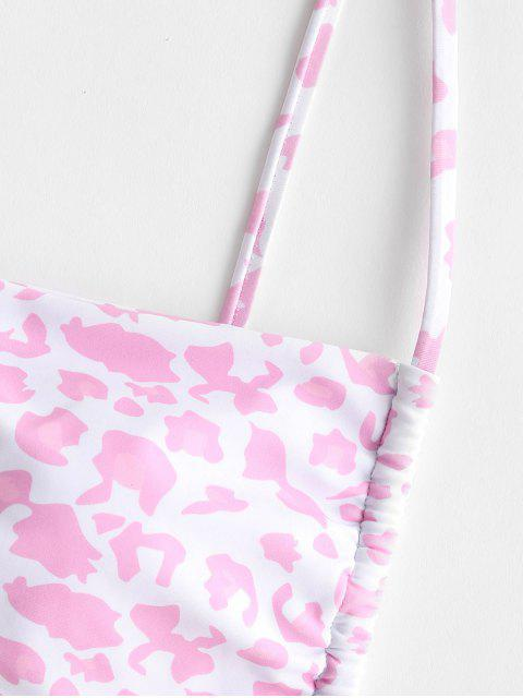 lady ZAFUL Leopard O Ring High Leg Tanga Bikini Swimwear - LIGHT PINK S Mobile