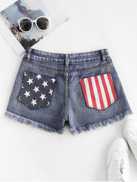 outfit Patriotic American Flag Distressed Button Fly Jean Shorts - BLUE XL Mobile