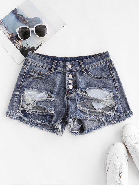fancy Patriotic American Flag Distressed Button Fly Jean Shorts - BLUE L Mobile