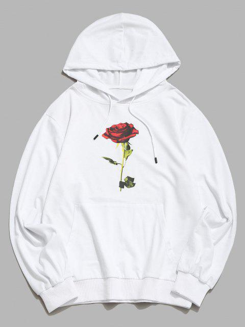 outfit Kangaroo Pocket Rose Flower Print Hoodie - WHITE S Mobile