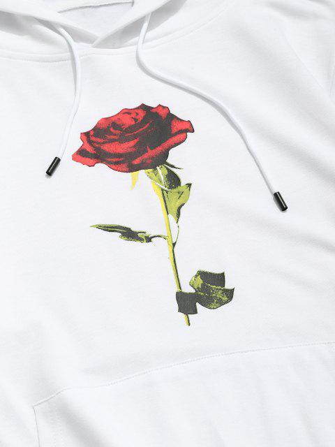 Känguru Tasche Rose Blumendruck Hoodie - Weiß L Mobile