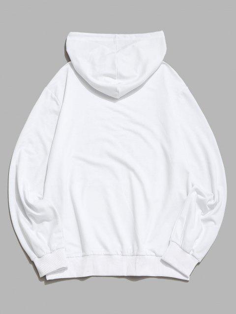 Känguru Tasche Rose Blumendruck Hoodie - Weiß 2XL Mobile