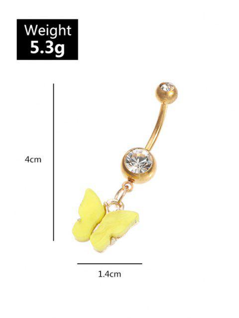 Anello Ombelico a Forma di Farfalla con Diamante Artificiale in Acrilico - Verde  Mobile