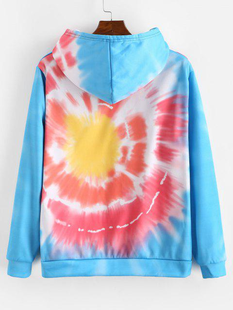 fashion Celestial Sun And Moon Graphic Tie Dye Flocking Hoodie - ROSSO RED 4XL Mobile