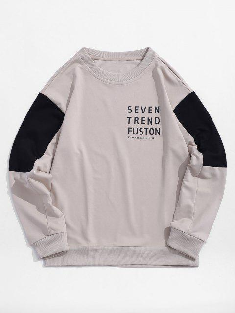 outfits Letter Print Colorblocking Panel Sweatshirt - WARM WHITE XS Mobile