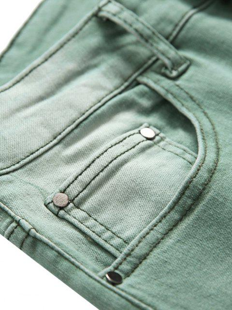 hot Zip Fly Long Faded Wash Denim Pants - LIGHT GREEN 42 Mobile