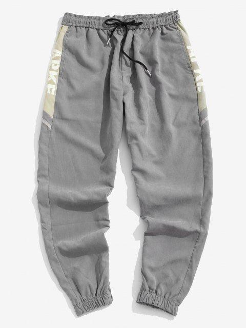 sale Letter Print Patchwork Jogger Pants - GRAY XL Mobile