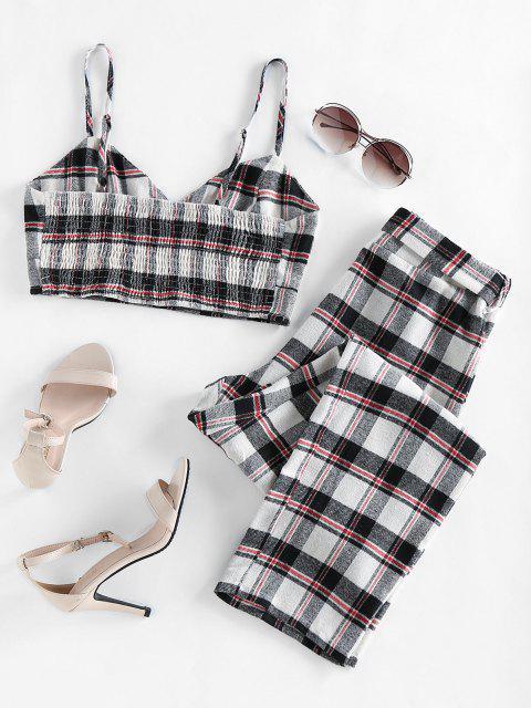 womens ZAFUL Plaid Smocked Two Piece Pants Set - WHITE XL Mobile