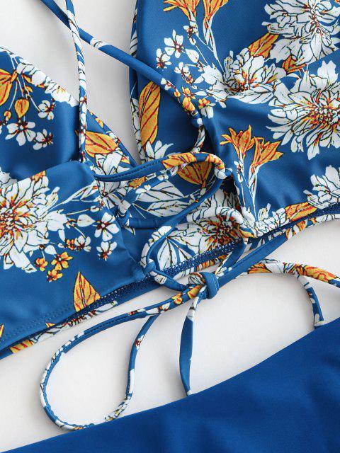 Maillot de Bain Tankini Noué au Dos Fleuri Imprimé à Taille Haute - Bleu S Mobile