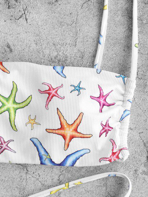 latest ZAFUL Starfish Print Ribbed O Ring Tanga Bikini Swimwear - WHITE M Mobile