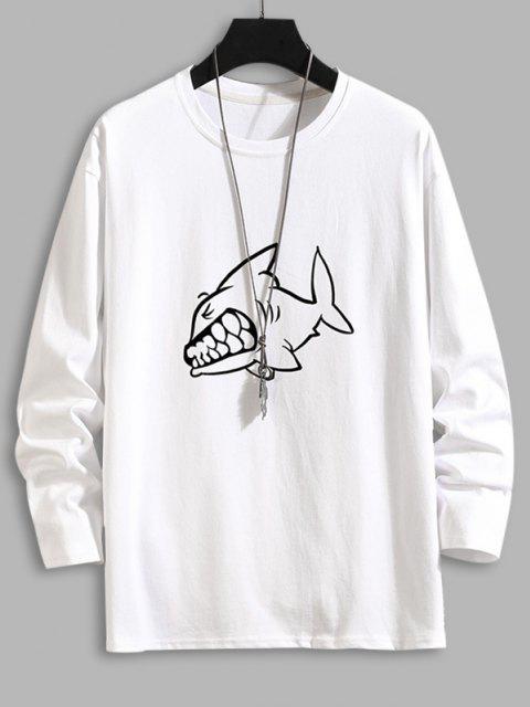 Shark Print Long Sleeve Basic T-shirt - أبيض 3XL Mobile