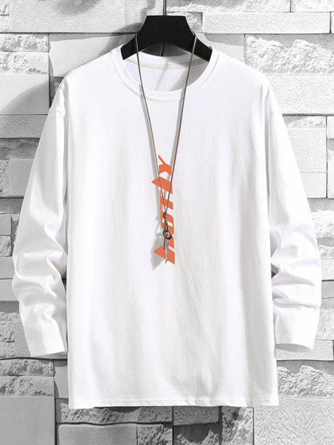 women Vertical Letter Graphic Drop Shoulder Lounge T Shirt - WHITE XL Mobile