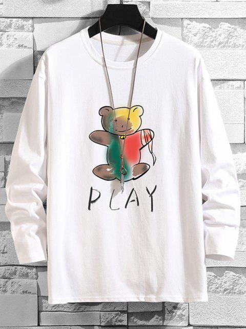 Maglietta a Maniche Lunghe con Stampa a Orso - Bianca 4XL Mobile