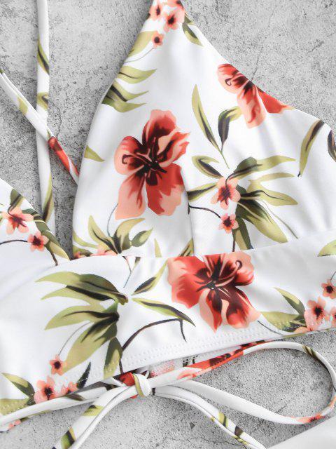 Maillot de Bain Tankini Noué au Dos Fleuri Imprimé à Taille Haute - Blanc L Mobile
