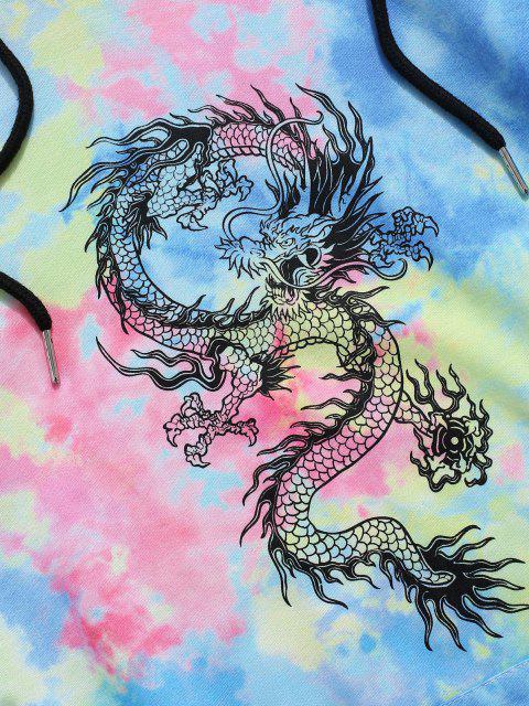 ladies Tie Dye Dragon Print Hoodie - MULTI L Mobile