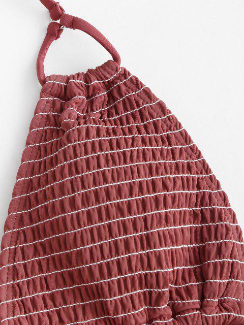 affordable ZAFUL Smocked Ruffle Tie Side String Bikini Swimwear - DEEP RED L Mobile