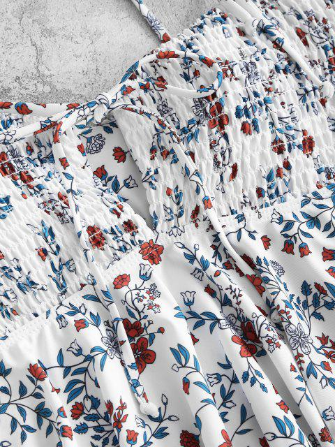 ZAFUL Blumen Kittel Ausschnitt Schößchen Tankini Badebekleidung - Weiß S Mobile