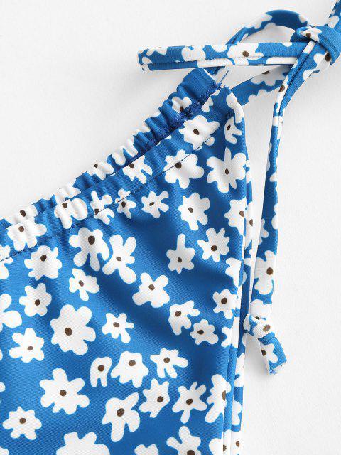 ZAFUL Gebundener Bikini Unterteile mit Ditsydruck und Hohem Bein - Hellblau L Mobile