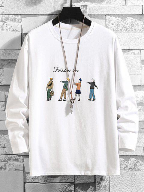 Folgen Sie Den Cartoon Charakter Druck Basic T-Shirt - Weiß 3XL Mobile