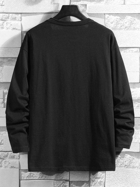 trendy Follow On Cartoon Character Basic T-shirt - BLACK 3XL Mobile