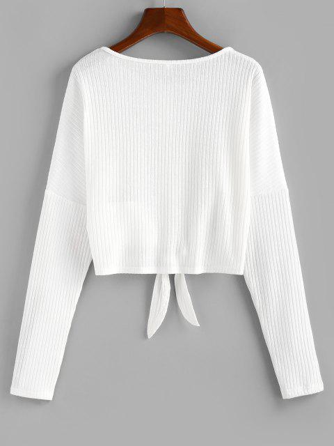 hot ZAFUL Front Tie Rib Knit Cardigan - MILK WHITE S Mobile