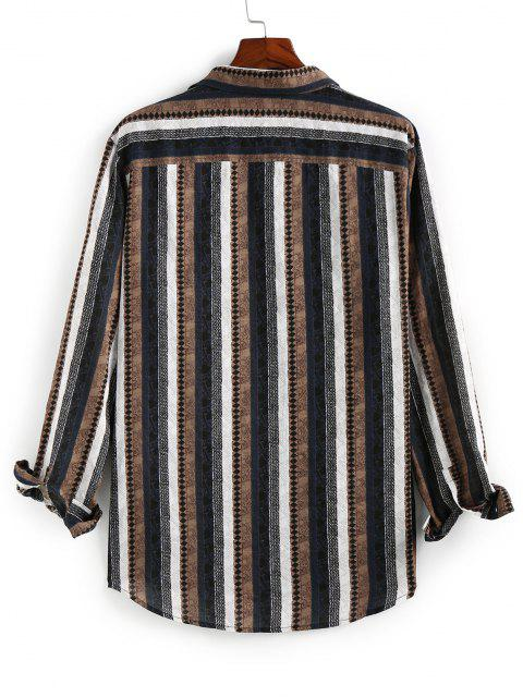 chic ZAFUL Striped Print Button Up High Low Shirt - COFFEE S Mobile