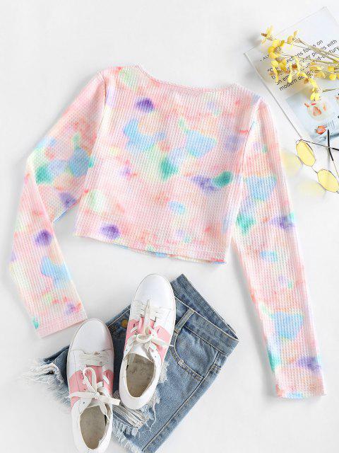 hot ZAFUL Mock Button Tie Dye Crop T Shirt - MULTI S Mobile