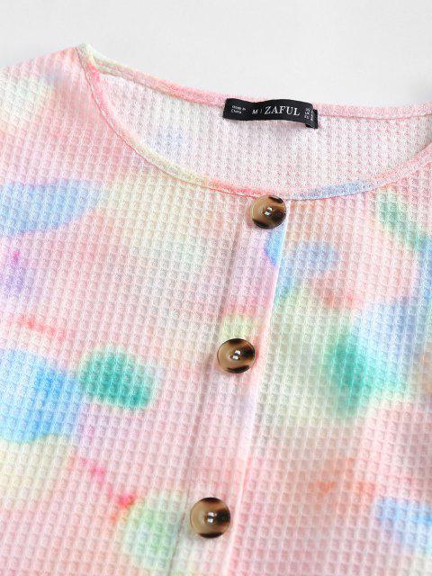 ZAFUL Falschen Knöpfe Knopf Krawattenfärbender Crop T-Shirt - Multi XL Mobile