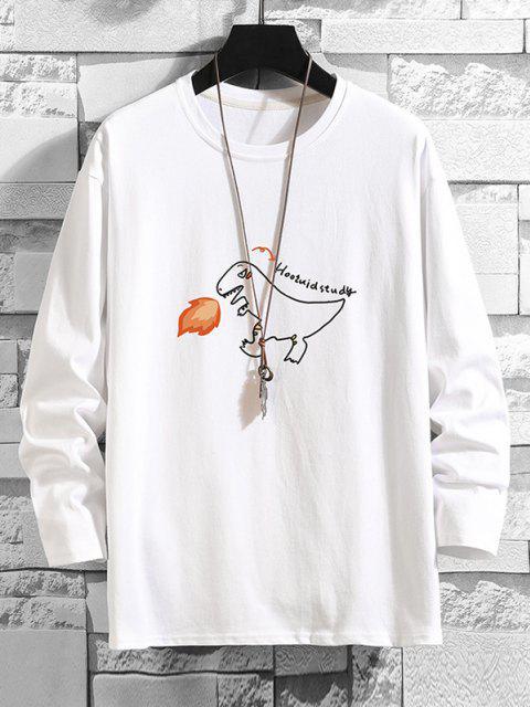 Camiseta Básica con Estampado de Letras de Dinosaurio - Blanco 4XL Mobile