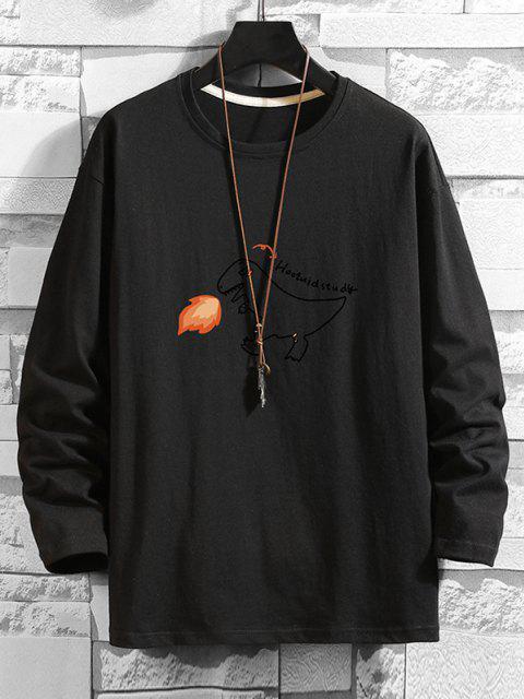 latest Fire Dinosaur Letter Graphic Basic T-shirt - BLACK 3XL Mobile