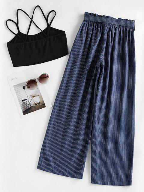 trendy ZAFUL Crisscross Cami Top and Checked Pants Set - DEEP BLUE M Mobile