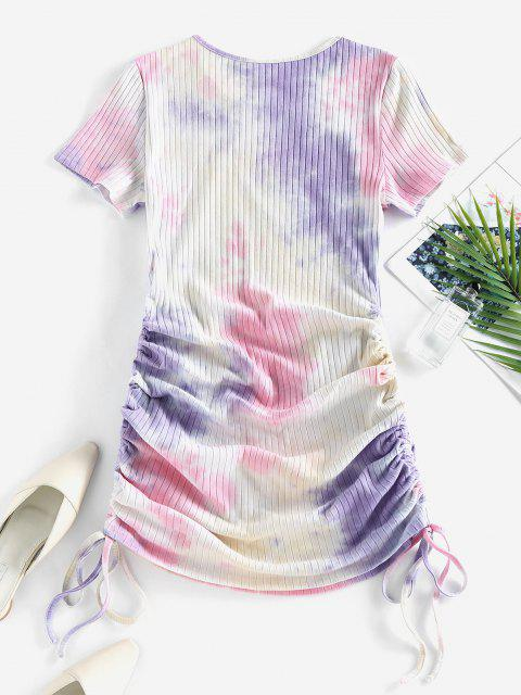 trendy ZAFUL Cinched Tie Dye Ribbed Bodycon Dress - LIGHT PINK S Mobile