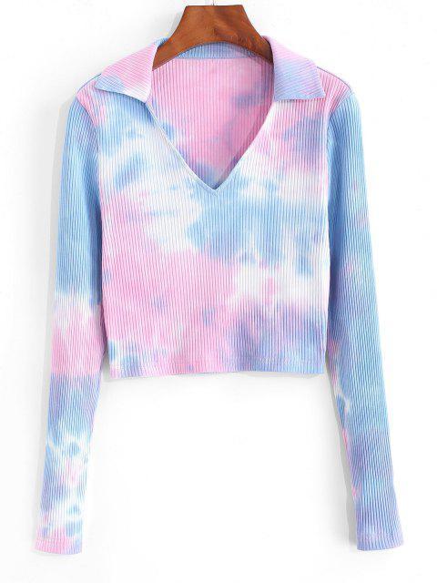 hot ZAFUL Ribbed Tie Dye Crop T Shirt - MULTI-A L Mobile