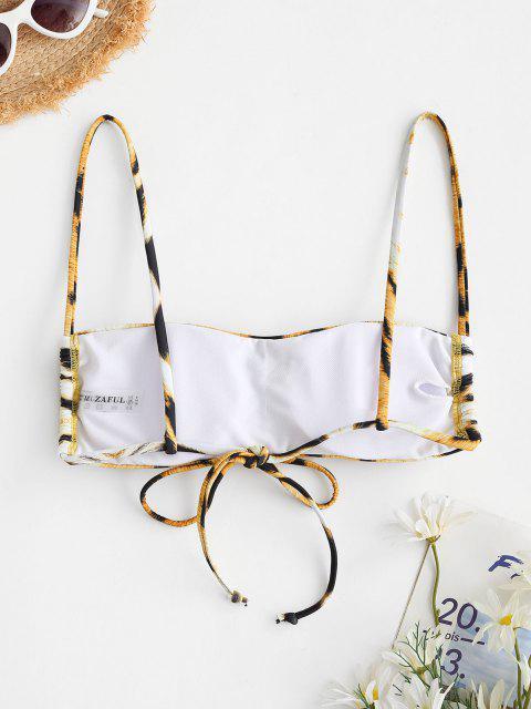 ladies ZAFUL Tiger Print Padded Cami Bikini Top - COFFEE S Mobile