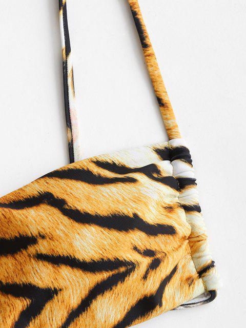 ZAFUL Bikini Top Acolchado con Estampado de Tigre - café S Mobile